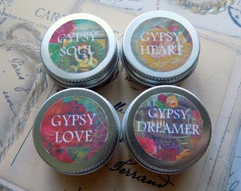 Solid Perfume, 'Gypsy Range', Essential Blended Oil Perfume, 10ml Tin Solid Perfume , Pure Natural Oils