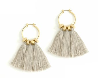 Beige tassel earrings, golden hoop earrings, beige statement earrings, boho earrings, nulika