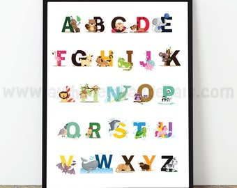Animal Alphabet Poster - Nursery Wall Art, Playroom Poster, Alphabet Wall Art, Alphabet Nursery Art, Alphabet Nursery, Nursery Art - 22-0027