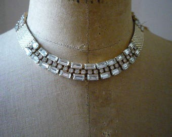 Vintage Gold Tone Clear Rhinestone Baguette Choker Necklace