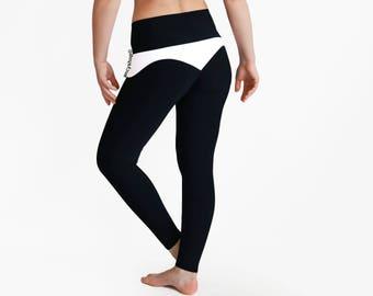 Black Yoga Pants, Waves Leggings, Black White Leggings, Workout Pants, Black Leggings, Designer Leggings, Shape Booty Pants, Yoga Tights