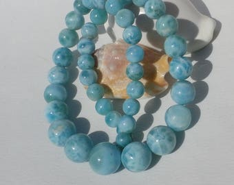 Larimar Round Beads Necklace, Closing In Sterling Silver 925