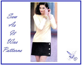 1990s Style 2148 Semi Dart Fitted Mini Dress Long Short Sleeves Hemline Band Contrast Panel Vintage Sewing Pattern Size 6 - 16 Bust 30 - 38""
