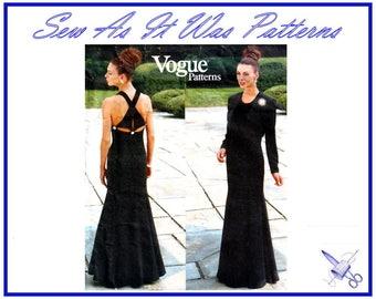 "FF 1990s Vogue Designer Original 1884 Bellville Sassoon Evening Dress Crop Bolero Jacket Vintage Sewing Pattern Size 8 10 12 Bust 31 32 34"""