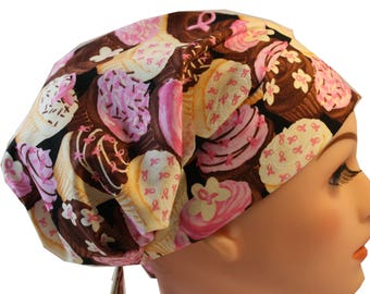 Scrub Hat Cap Chemo Bad Hair Day Hat  European BOHO Pixie Pink Ribbon Cupcakes 2nd Item Ships FREE