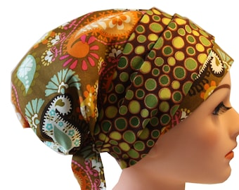 Scrub Hat Cap Chemo Bad Hair Day Hat  European BOHO Banded Pixie Tie Back Brown Orange Pink Paisley Green Dot Band 2nd Item Ships FREE