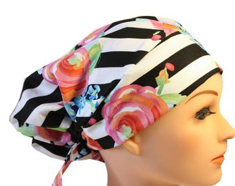 Scrub Hat Cap Chemo Bad Hair Day Hat  European BOHO Pink and Blue Roses Black Stripe 2nd Item Ships FREE