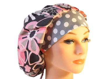 Scrub Cap Surgical Hat Hat Tie Back Bouffant Style - Pink Grey Flower Shower Dots  2nd Item Ships FREE