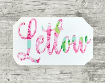 Name Decal, Lilly Pulitzer Decal, Name Sticker, Lilly Decal, Water Bottle Decal, Yeti Decal, Swell Decal