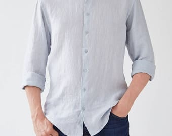 Light Grey Linen Juniper Men's Shirt