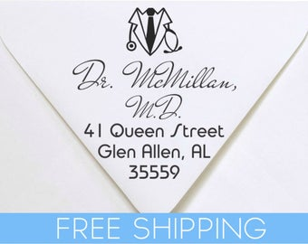 Doctor, Nurse, Dentist, Medical Custom Return Address Stamp - Self Inking. Personalized rubber stamp with lines of text