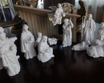 Vintage, 14 Piece Porcelain Nativity Set with Creche