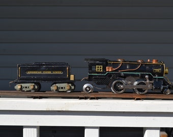 American Flyer 2-4-2 Steam Locomotive And Tender 3307/3308 Prewar Locomotive & 3199 Tender Circa 1931 American Flyer Prewar Train Locomotive