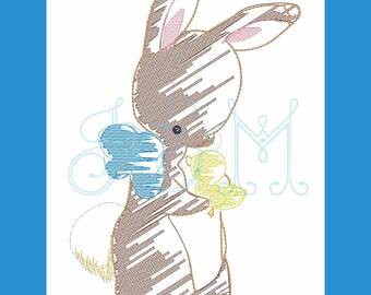 Bunny Holding Duck Sketch Machine Embroidery Design