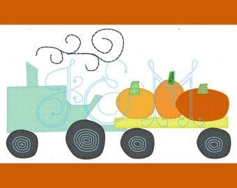 5x7 Pumpkin Tractor Hayride VIntage Style Applique Embroidery Design