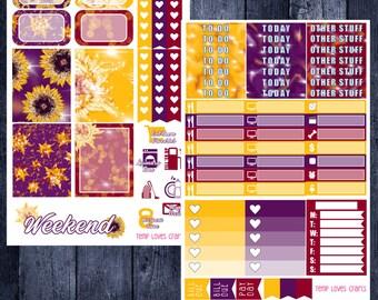 Sunflower Vibes Kit for Erin Condren Life Planner Vertical Layout