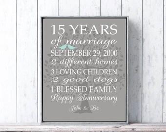 15th Anniversary Gift Wife Anniversary Gift 15 Years Personalized Print Family Tree Love Birds Keepsake Gift for Husband Art Print