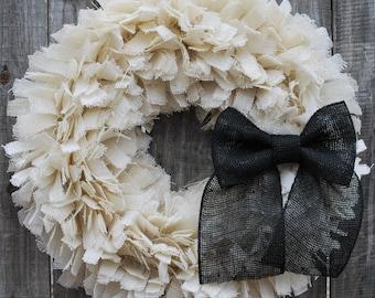 "24"" Halloween Wreath, Burlap Halloween Wreath, Halloween Rag Wreath, Rustic Halloween Wreath, Farmhouse Halloween, Gothic Wedding Decor"