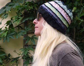 knit hat black and pastels