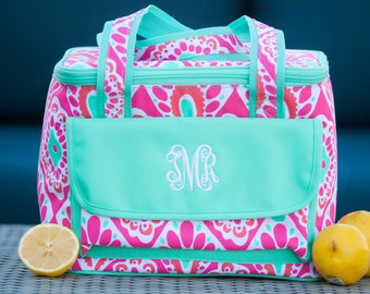Pink Beachy Keenl Cooler Bag / Aqua Blue / Personalized Cooler Tote / Insulated Beach Tote