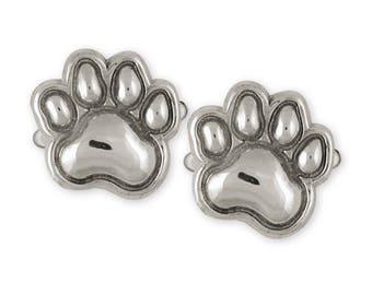 Dog Paw Cufflinks Jewelry Sterling Silver Handmade Dog Cufflinks PW20-CL
