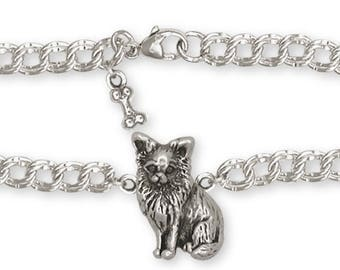 Long Hair Chihuahua Bracelet Jewelry Sterling Silver Handmade Dog Bracelet CU8-BR