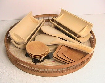 Sushi Set, Vintage Bamboo Sushi Set with Vintage Round Tray