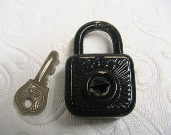 Pad Lock and Key, Germany, Working Boss Miniature Pad Lock with Original Key, Labeled, Germany