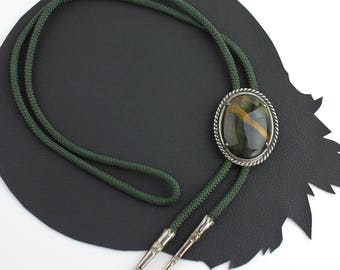 Green Tigers Eye Stone Green Cord and Silver Aglets Bolo Tie