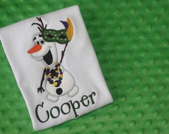 Mardi Gras Olaf Appliqued Shirt