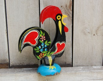 Vintage Good Luck Rooster Napkin Holder Portuguese Red Hearts Accent Kitchen  Hand Painted Wood Portugal Chippy