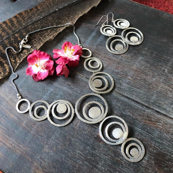 Sterling modernist necklace and earring  set