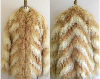 70s Mongolian Tibetan Lamb Jacket/ Burning Man Fluffy Fur Jacket/ Penny Lane Coat/ Womens Size Medium