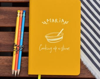 Personalised Cookery Recipe Notebook- Gifts For Her - Customised Journal - Gifts for Baker - Blank Recipe Book - Bakers Gift