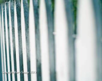 Picket Fence, blue and white art print