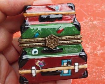 VINTAGE porcelain box, suitcase box, stack of luggage box, treasure box, pill box, small box, china box, maroon green brown  (til)