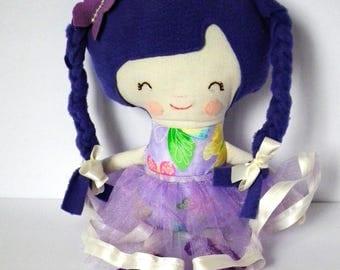 Cloth Doll. Handmade rad doll. Purple butterfly. Great christmas gift idea