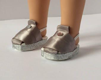"Wellie wisher shoes. Handmade doll shoes. 14.5"" doll shoes. Silver doll shoes. S.O Designs"