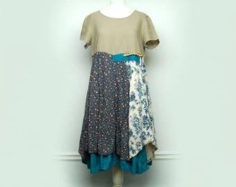 Large Mori Girl Dress, Shabby Chic Dress, Artsy Lagenlook Clothing, Eco Friendly Upcycled Clothing by Primitive Fringe