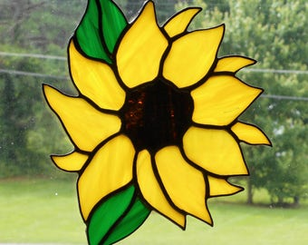 Stained Glass Sunflower Suncatcher (#2) - Handcrafted in Tennessee