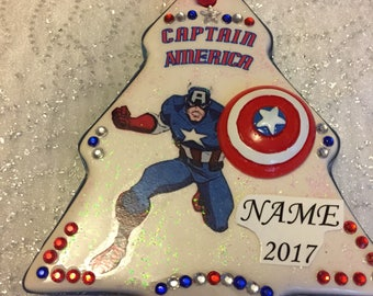 Captain America Marvel personalized/custom Christmas ornament