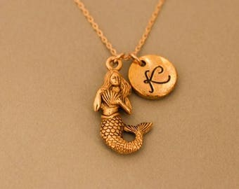 Gold Mermaid necklace, Mermaid pendant necklace , mermaid jewelry, personalized infinity necklace, friendship jewelry,Monogrammed Necklace