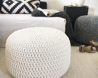 Large Stuffed Pouf-Foot Stool Pouf Ottoman-Crochet Floor Cushion-Knit Floor Pillow-Nursery Pouf-Floor Pouf-Pouffe-Kids Bean Bag-Home Decor