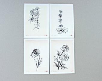 4 Assorted Botanical Postcards | Postcard | Botanical Postcard | Gift Card | Wrapping Tags