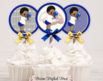 Football Cupcake Topper Circles | Royal Blue White Gold |  African American Vintage Baby Boy | Digital Instant Download