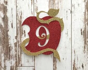 Descendants 2 Apple Symbol Glitter Die Cut/Birthday Party Decoration/ Embellishment/Cake Topper - 9 Years old