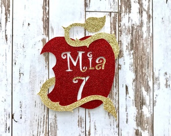 PERSONALIZED Descendants 2 Apple Symbol with Customized Name and Number Glitter Die Cut/Party Decoration/ Embellishment/Cake Topper