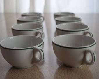 8 Mayer China Restaurant Ware Coffee Cups with Green Stripes
