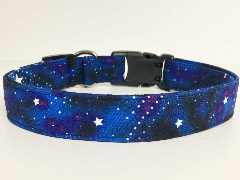 Stars galaxy moon shooting star fabric collar glow in for Glow in the dark galaxy fabric