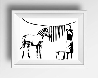 Banksy art print, graffiti, street art, Banksy zebra print